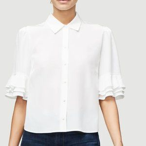 Frame Denim White Silk Ruffle Sleeve Blouse S